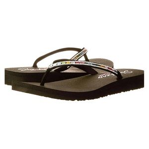 SKECHERS Black Yoga Foam jeweled thong flip-flops